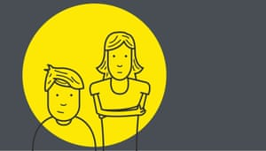 An illustration of a boy and his mum