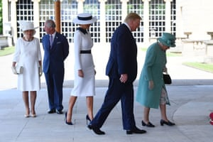 Trump and the first lady, Melania Trump, are greeted by Queen Elizabeth II, the Prince of Wales and the Duchess of Cornwall at Buckingham Palace