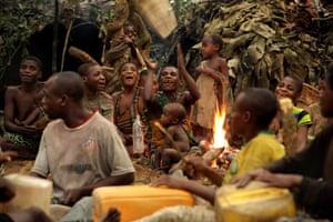 Ba'aka enact their traditional hunting ceremony