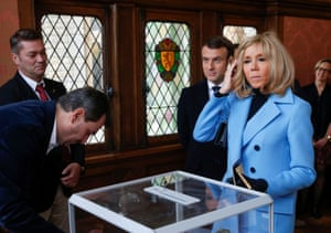 French president Emmanuel Macron and his wife Brigitte cast their ballots during the first round of the mayoral elections in Le Touquet, France.