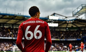 Trent Alexander-Arnold is pictured at Stamford Bridge. The defender's goal from a free-kick routine set Liverpool on their way to victory.