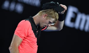 Kyle Edmund reacts after losing a point against Croatia's Marin Cilic.