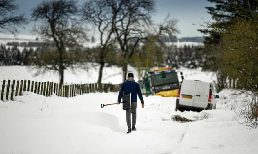 Lamancha, Scotland. The first named storm of 2021 has swept across the north of England and Scotland, bringing flooding and heavy snow.