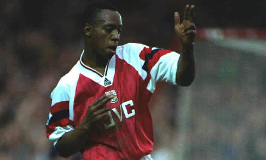 Ian Wright, seen here in November 1992, tweeted his delight at Arsenal's new deal, including the hashtag #welcomebackadidas.