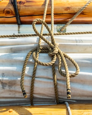 Detail of ropes on the Bluenose II
