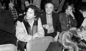 Jake LaMotta with Robert De Niro at a boxing match in New York in 1980. De Niro went on to star in Raging Bull.