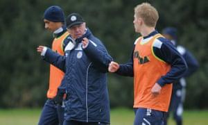 Sven-Goran Eriksson takes Leicester City training in 2011.