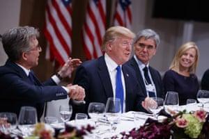 SAP CEO Bill McDermott (left), Donald Trump, CEO of Seimens Joe Kaeser, and Secretary of Homeland Security Kirstjen Nielsen at tonight's dinner with business leaders.