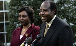 Paul Rusesabagina with his wife Tatiana at the White House in 2005 after meeting President Bush