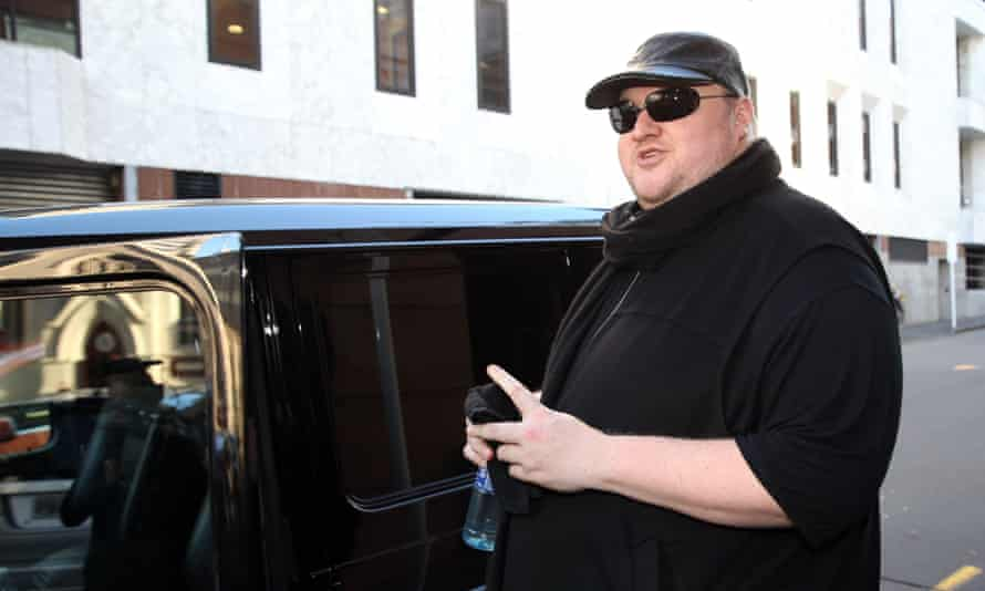 Kim Dotcom leaves court for the day after attending his extradition hearing in Auckland