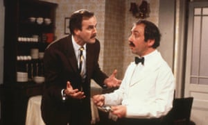 Andrew Sachs as Manuel (right) and John Cleese as Basil in Fawlty Towers