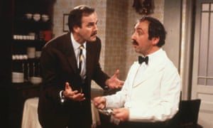 Andrew Sachs as Manuel with John Cleese as his tormentor Basil Fawlty in the BBC's Fawlty Towers.