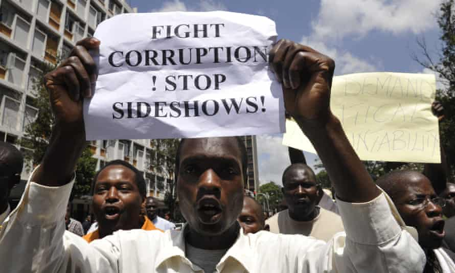 Kenyans protest in 2007 against allegations of government corruption.