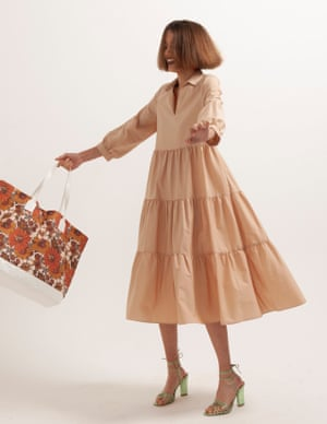 model wears dress, £29.99, reserved.com. Bag, £85, by Dodo Bar Or, from matchesfashion.com. Heels, £235, aeyde.com.