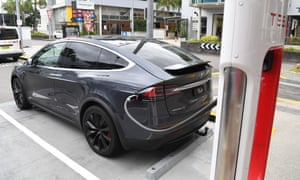 A stock image of a Tesla model X car being charged in Brisbane, Wednesday 27 February 2019.