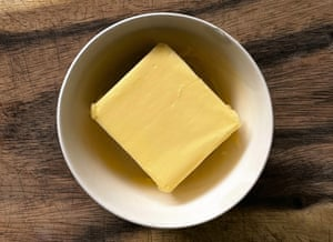 Overhead shot of butter in a bowl