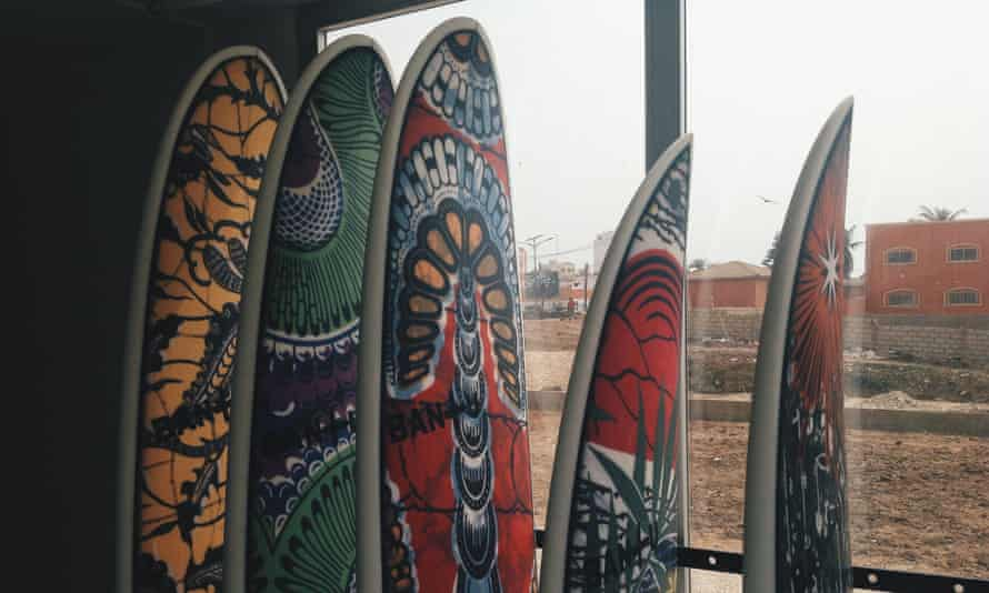 Wave riders: bespoke surfboards with Bantu's immediately recognisable African prints.