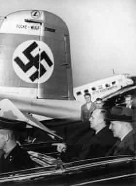 German Foreign Minister Joachim von Ribbentrop, arriving by car at Salzburg airport to leave for Moscow, 22 August 1939.