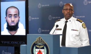 Chief Mark Saunders at a news conference in Toronto on 15 March 2016 speaking about Ayanie Hassan Ali, who was accused of attacking Canadian soldiers at a recruitment centre.
