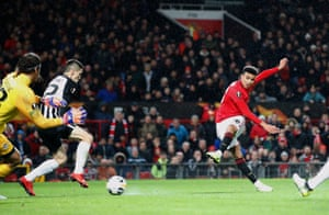 Mason Greenwood scores the opener for United.