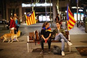 Protesters rest in the centre of Barcelona