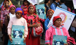 Members of the indigenous Lenca community protest in demand of justice in the murder of Honduran activist Berta Caceres in Tegucigalpa on 2 March