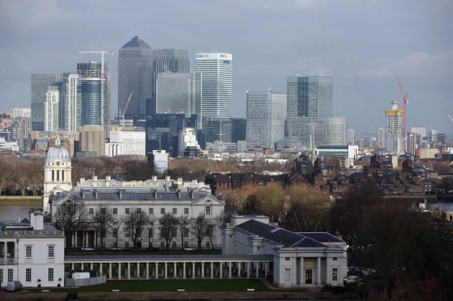Canary Wharf business, financial and shopping district in London