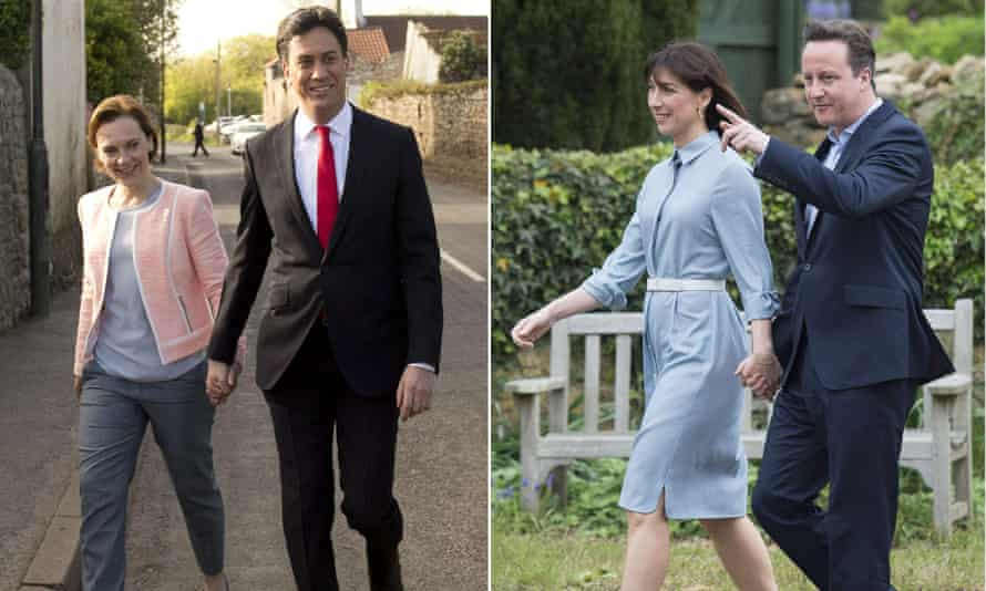 L-R: Labour leader Ed Miliband and his wife Justine, and Tory leader David Cameron and his wife Samantha head to the polls to vote in the general election.