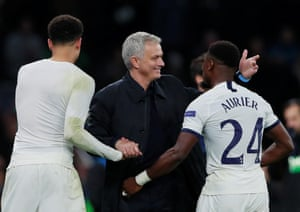 Jose Mourinho with Serge Aurier and Dele Alli after the match.