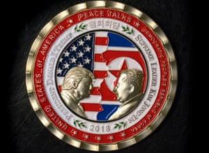 North korea peace talks coin featuring Donald Trump and Kim Jong-un