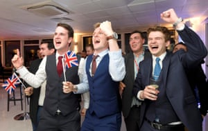 Leave supporters cheer results at a Leave.eu party