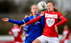 Julie Biesmans of Bristol City, right, and Emily Roberts of Durham compete for the ball during their FA Cup match.