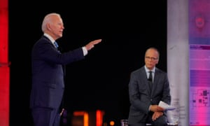 Joe Biden speaks during the NBC town hall in Miami.