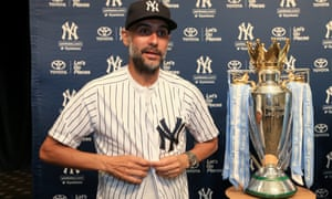 Pep Guardiola at Yankee Stadium in New York on Manchester City's pre-season tour of the US, where he was already focused on retaining the Premier League crown.