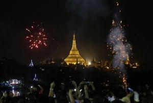 Celebrations at Kandawgyi Park in Yangon, Myanmar