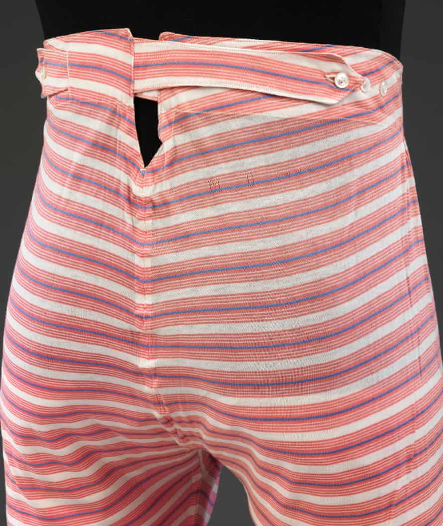 Men's striped cotton underpants, c1890s.