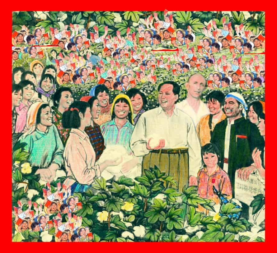 Goldbloom with Mao, surrounding by smiling people in the style of Chinese propaganda