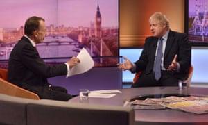 Boris Johnson appears on the Andrew Marr Show on Sunday 1 December