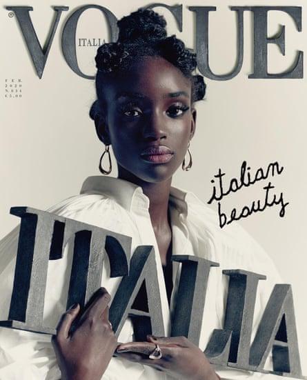 Vogue Italia's February 2020 issue featuring the model Maty Fall Diba.