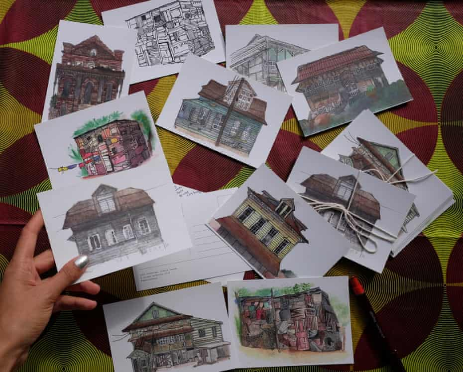 Some of the postcard paintings made by Najmeh Modarres of old board houses in Freetown, Sierra Leone.