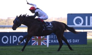 Frankie Dettori celebrates an easy win for Cracksman in the Champion Stakes at Ascot.