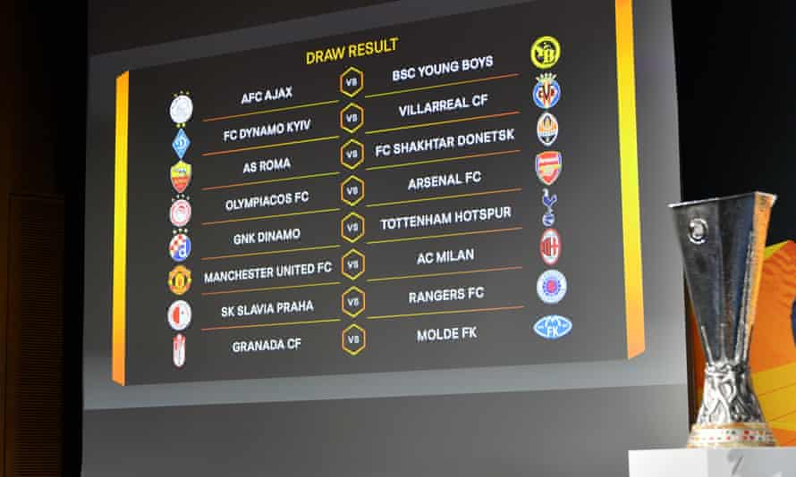 A screen shows the outcome of the draw for the last 16 of the Europa League at Uefa's headquarters in Nyon.