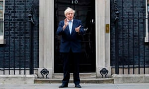 Boris Johnson on the steps of 10 Downing Street during the Clap for Carers.