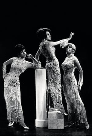 In this image by the celebrity photographer James Kriegsmann, Cindy, Diane and Mary wear the heavily embellished Chandelier gowns, designed in 1967 by Michael Travis. Sadly, the dresses were among several sets of costumes destroyed in a fire in Mexico City in 1974.