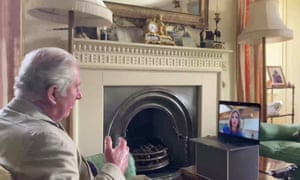 Prince Charles being interviewed by the Sky News royal correspondent Rhiannon Mills.