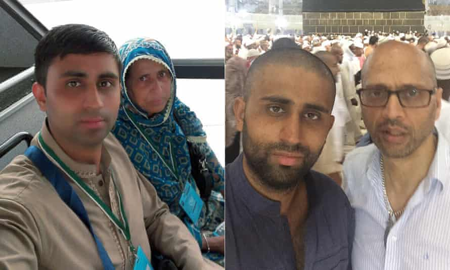 Irtaza Shah with his mother Syeda, who died in the stampede, and with his uncle Sajjad.