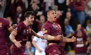 Papalii celebrates putting the Maroons in control of the match with his try.