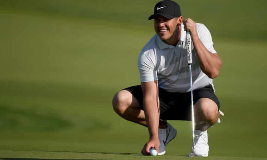 Brooks Koepka warms up at the pro-am event before taking part in the Saudi International.