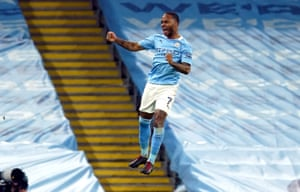 Raheem Sterling of Manchester City celebrates after scoring.