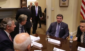 Kevin Plank (center right), CEO Under Armour, with Donald Trump and other business leaders at the White House.